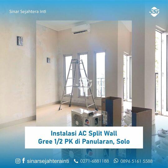 Instalasi AC Split Wall Gree 1/2 PK di Panularan, Solo