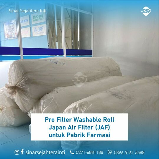 Pre Filter Washable Roll Japan Air Filter (JAF) unntuk Pabrik Farmasi